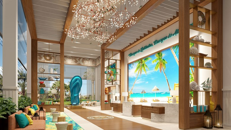 A rendering of the lobby at Margaritaville Island Reserve by Karisma Cap Cana.