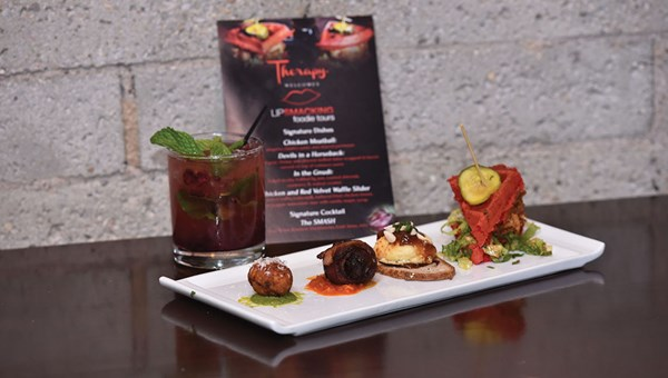 The restaurant Therapy is featured on the Downtown Lip Smacking Tour.