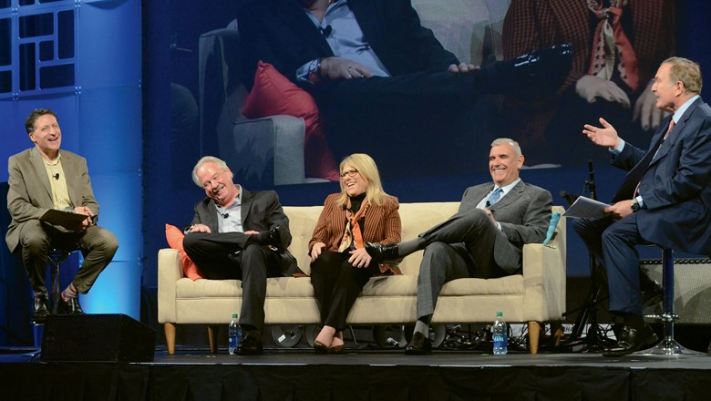 Editor in chief Arnie Weissmann, far left, and Royal Caribbean Cruises Ltd. CEO Richard Fain, far right, moderated a panel of RCCL presidents, seated: Mark Conroy of Silversea, Lisa Lutoff-Perlo of Celebrity and Larry PImentel of Azamara.