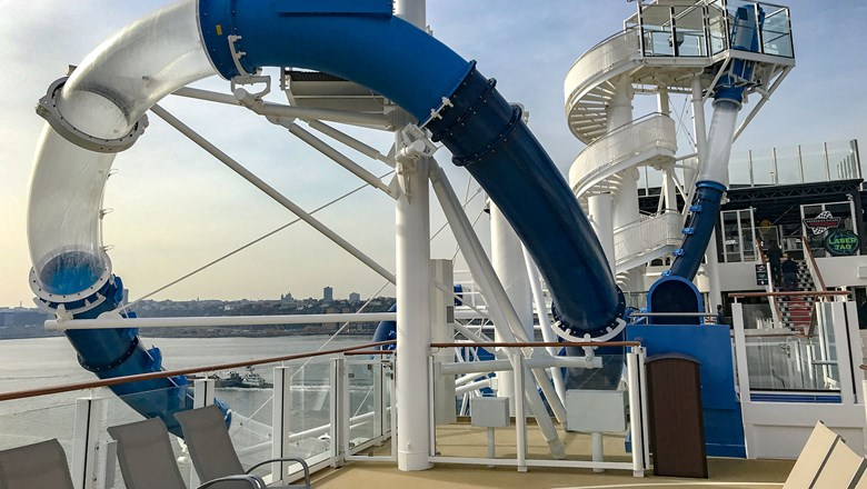 The Ocean Loops waterslide on the Norwegian Encore takes riders beyond the edge of the ship.