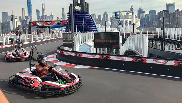A popular feature of the Norwegian Encore is the Speedway race track, where passengers can drive go-karts.