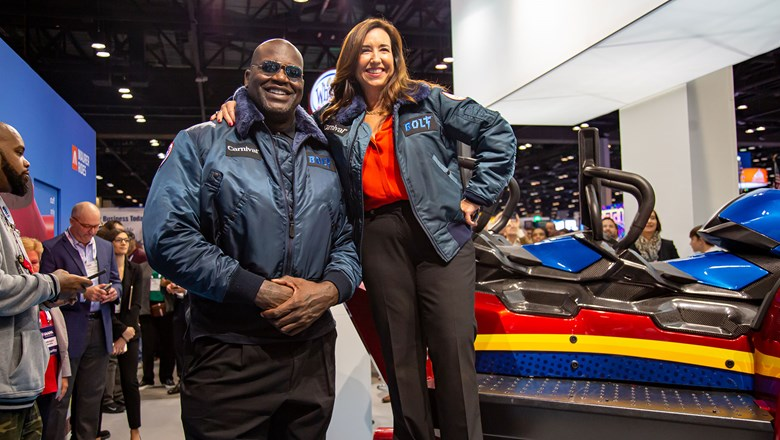 Carnival pitchman Shaquille O'Neal and president Christine Duffy announced details about the Bolt coaster at the International Association of Amusement Parks and Attractions Conference.