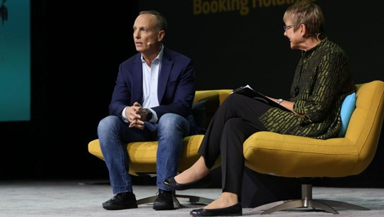 Phocuswright's Lorraine Sileo inteviewing Booking Holdings CEO Glenn Fogel at the Phocuswright Congerence.