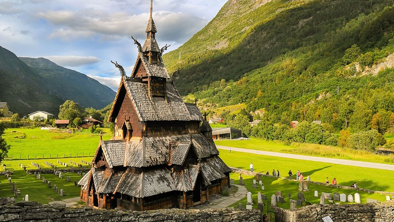 The wooden Borgund Stave Church in Borgund, Norway.