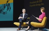 Expedia Group CEO Mark Okerstrom at the 2019 Phocuswright Conference with analyst Maggie Rauch.