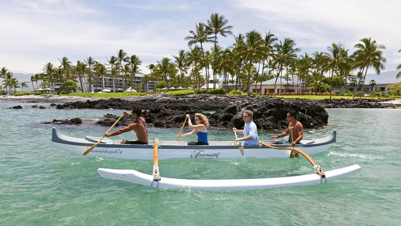 An outrigger canoe outing, one of the cultural programming offerings at the Fairmont Orchid.