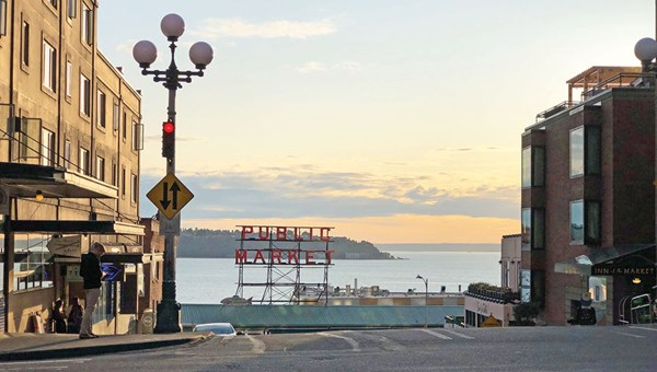 Pike Place Market, with its views of Elliott Bay, is Seattle's top tourist attraction, with an estimated 13,000 visitors daily.