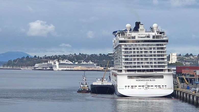 The Norwegian Bliss docked at Seattle's Bell Street Terminal. In the distance are two ships at the Smith Cove terminal.