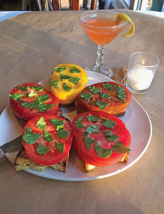 Heirloom tomato bruschetta served at the Pink Door restaurant.