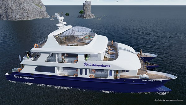 A rendering of G Adventures' upcoming adventure yacht, the Reina Silvia Voyager.
