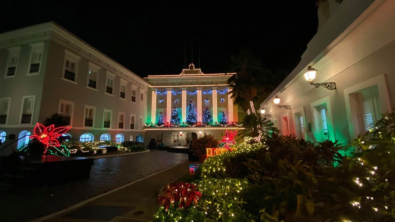 Holiday decorations at La Fortaleza, the official residence and office of the governor of Puerto Rico.