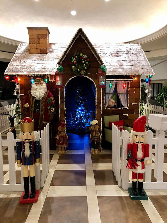 The lifesize gingerbread house at the Wyndham Grand Rio Mar Puerto Rico Golf & Beach Resort.