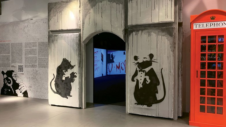 More than 70 Banksy pieces are on display in Las Vegas.