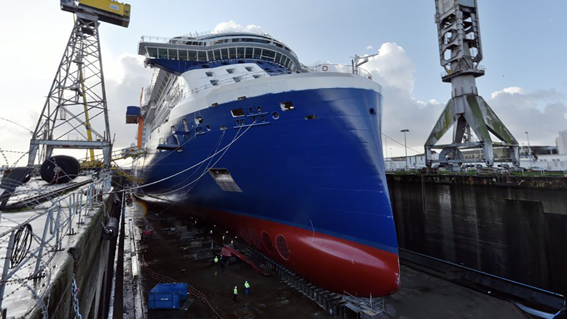 The Celebrity Apex under construction at the Chantiers de l'Atlantique shipyard in Saint-Nazaire, France. The ship is scheduled to debut in March.