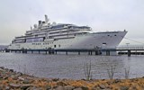 The Crystal Endeavor at the Werften Shipyard in Stralsund, Germany. Its first sailing is Aug. 10 from Tokyo.