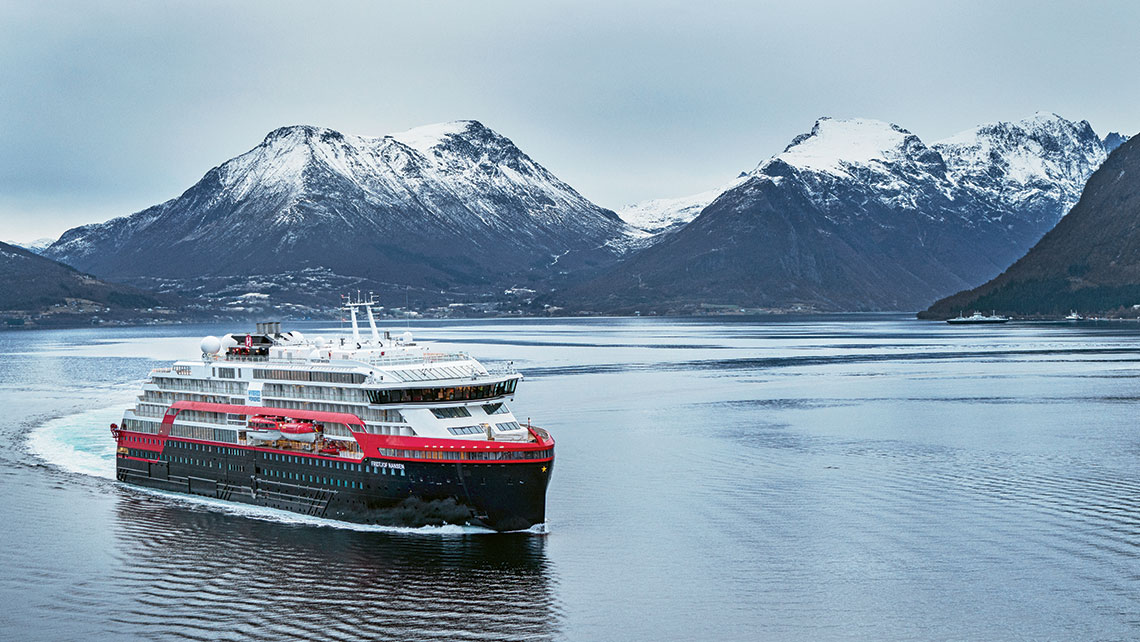 Hurtigruten's Fridtjof Nansen, seen here during sea trials, is under construction at the Kleven Yards in Norway.