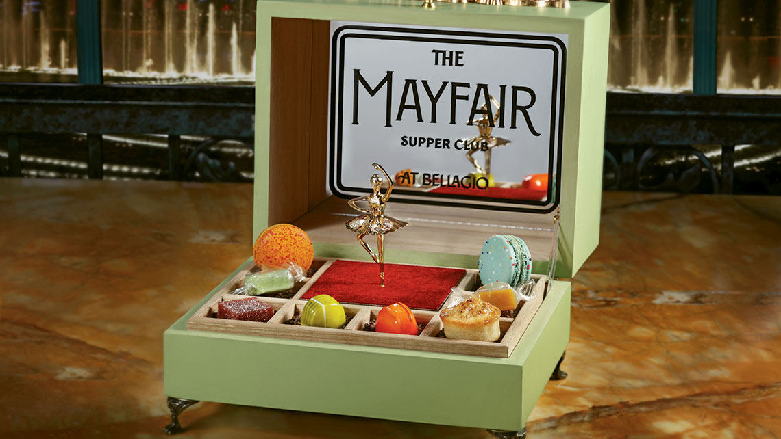 A music box holds a selection of deserts at Mayfield Supper Club.