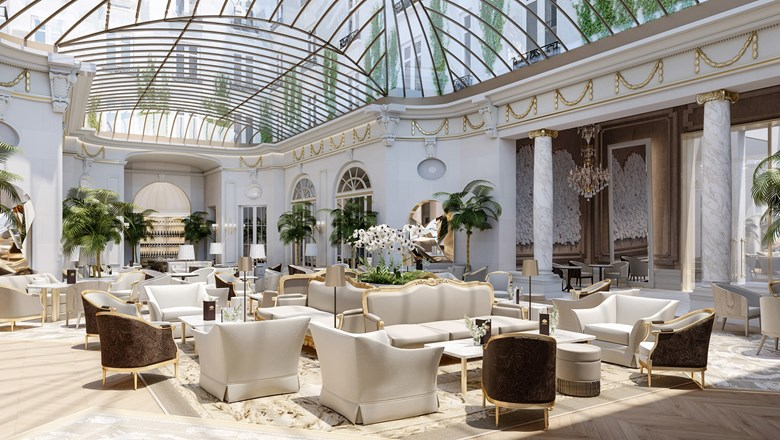 The Palm Court restaurant, with its reconstructed glass canopy ceiling, at the Mandorin Oriental Ritz, Madrid.