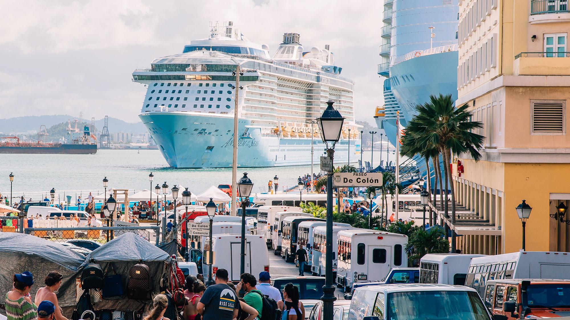 San Juan's busy cruise port on Jan. 8.