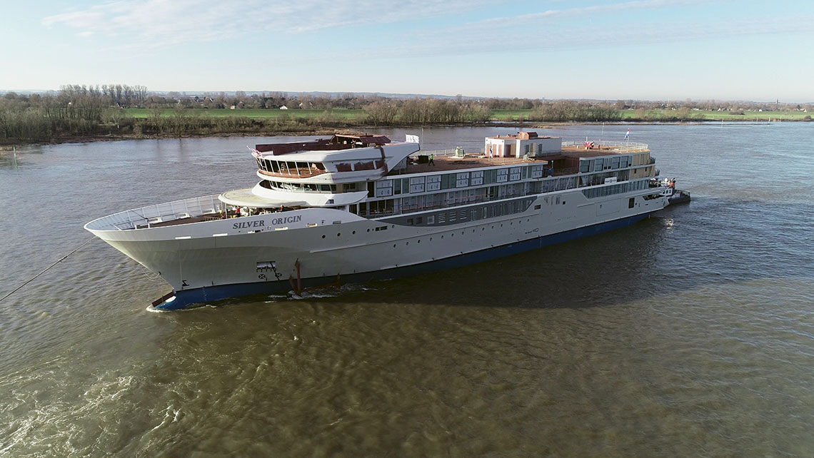 The Silver Origin, one of two Silversea ships debuting this year, at its float-out at De Hoop shipyard in Holland.
