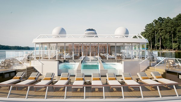 A rendering of the expedition ships' pool deck.