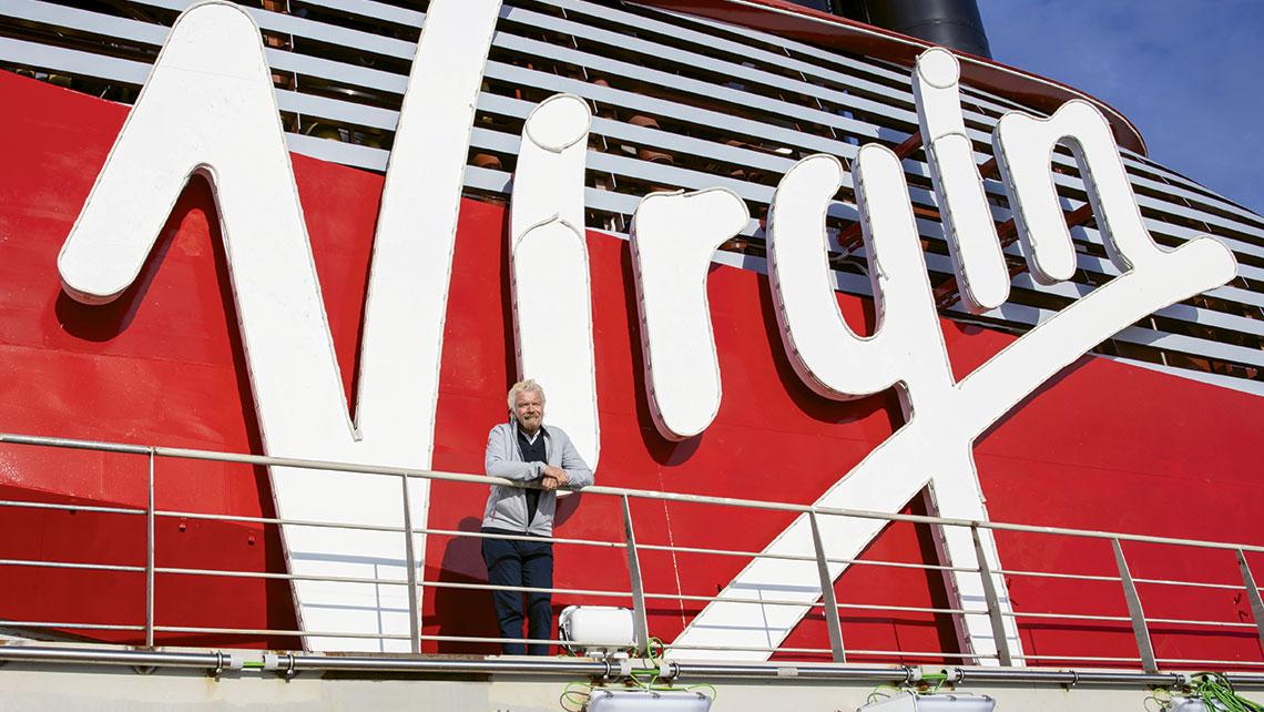 Richard Branson on Virgin Voyages' Scarlet Lady, under construction at Fincantieri.