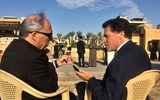 Jerry Inzerillo, CEO of the Diriyah Gate Development Authority, being interviewed by Travel Weekly editor in chief Arnie Weissmann in the hours before the project was inaugurated in a ceremony attended by Saudi Arabia's king and its crown prince.