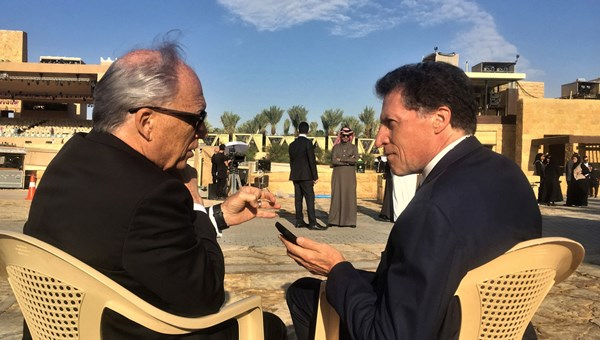 Jerry Inzerillo, CEO of the Diriyah Gate Development Authority, being interviewed by Travel Weekly editor in chief Arnie Weissmann in the hours before the project was inaugurated in a ceremony attended by the Saudi Arabia's king and crown prince.