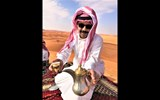 Saud al Jabal, a driver for the tour operator Al Boraq, offers tea to journalists on an excursion into the desert about 90 minutes outside Riyadh.