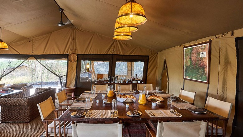 Legendary Expeditions' Mila luxury tents are located in Mwiba Wildlife Reserve in northern Tanzania.