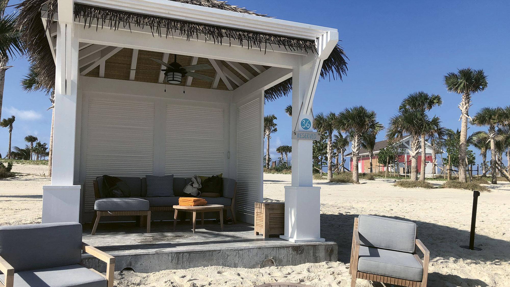 A beach cabana on Ocean Cay.