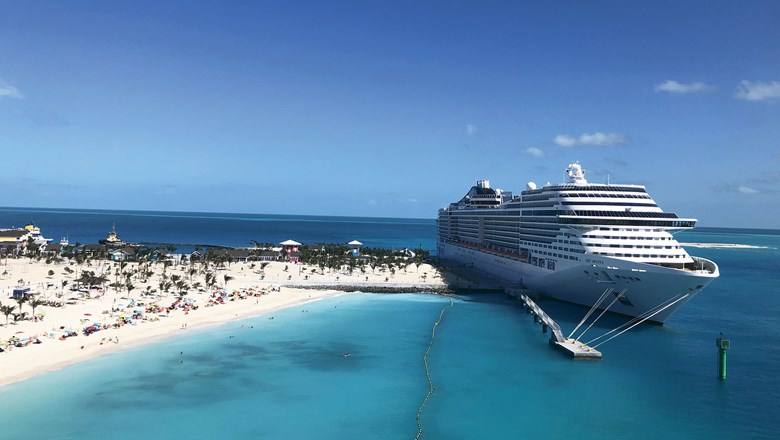 A view of the MSC Divina from atop the 115-foot lighthouse on Ocean Cay.