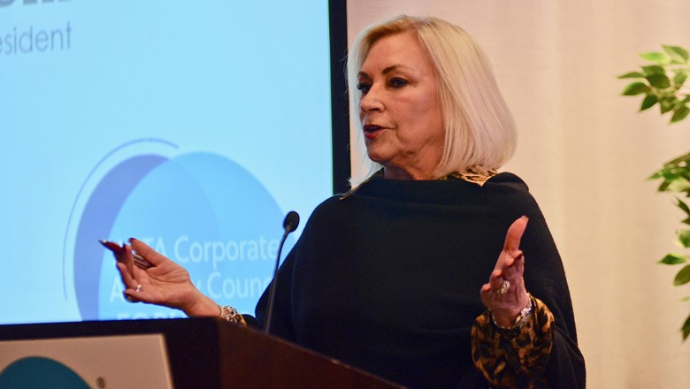 Kathy Bedell, senior vice president, BCD Travel, at ASTA's Corporate Advisory Council Forum 2020.