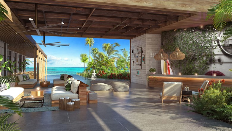 A rendering of the lobby at The Bight by Dream Hotel Group in Turks and Caicos.