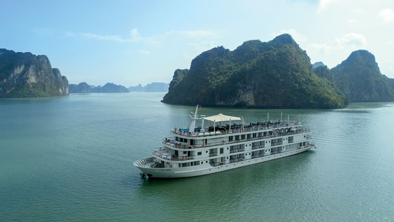 The Paradise  Grand, the first of two new ships Paradise Vietnam is launching on Lan Ha Bay.