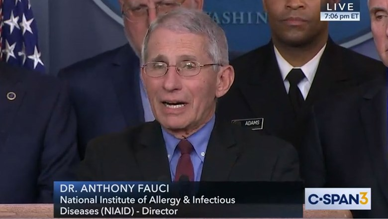Immunologist Anthony Fauci speaking at Monday's coronavirus task force briefing at the White House.