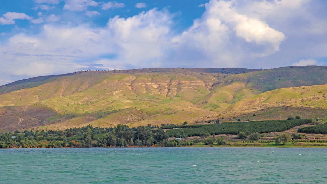 A view of the Golan Heights from the Sea of Galilee.