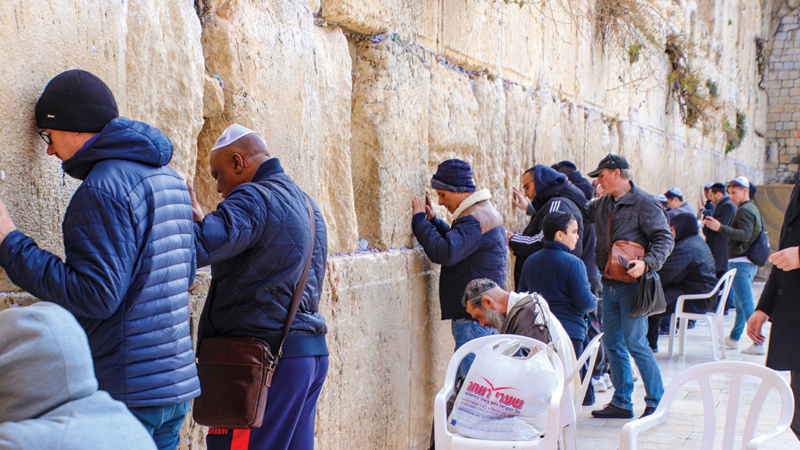 Worshippers at the Western Wall.
