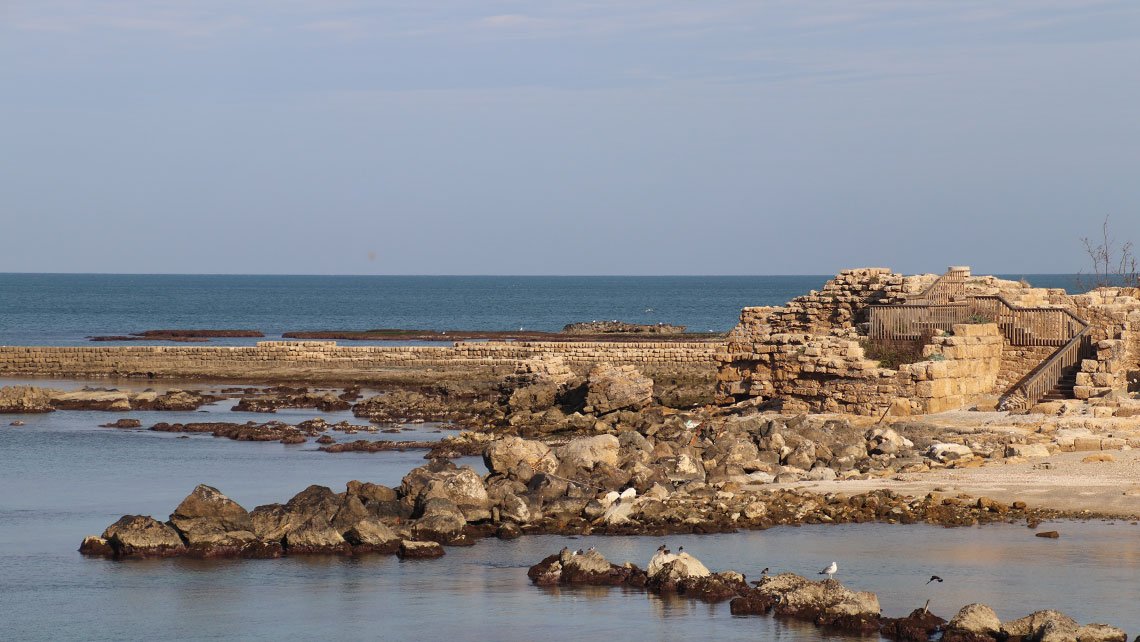 Harbor ruins in Caesarea. Construction of the harbor began in 22 B.C. under Herod the Great.