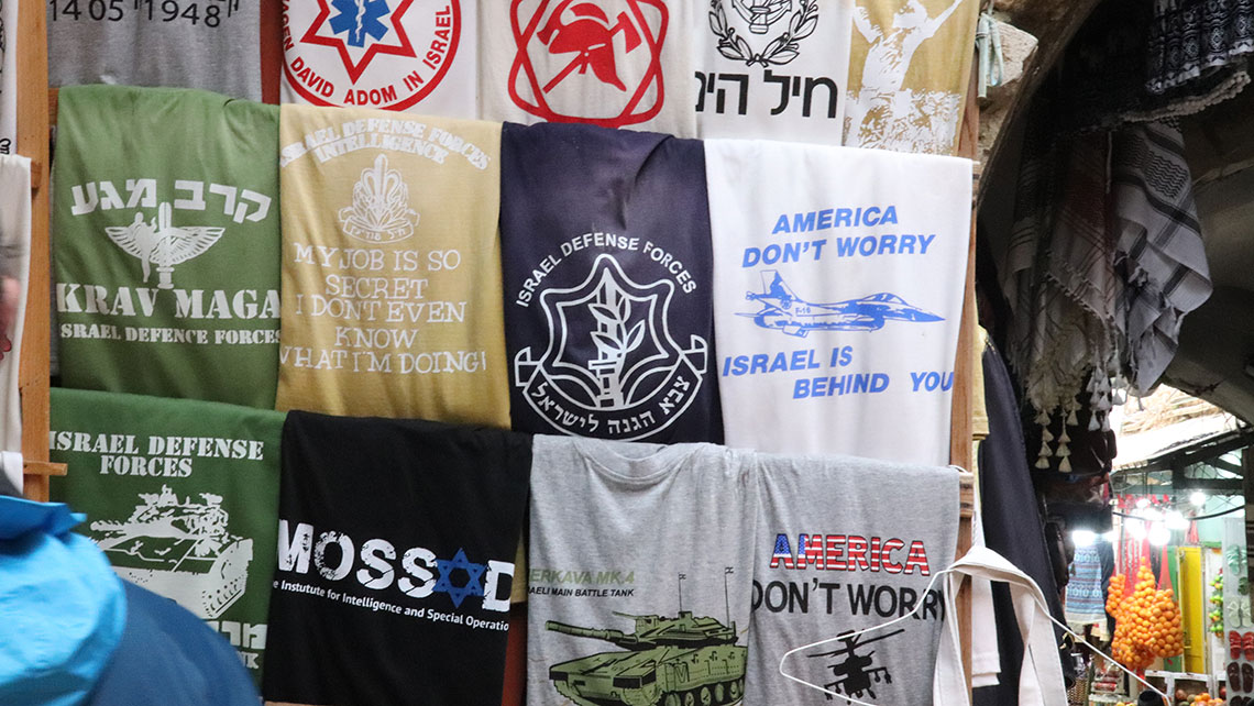 One of the scores of T-shirt vendors in Jerusalem's Old City.