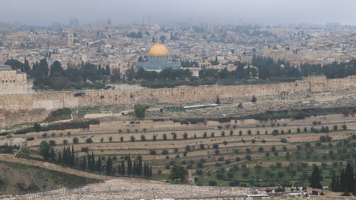 Jerusalem's Old City. The golden Dome of the Rock dates to the 11th century.