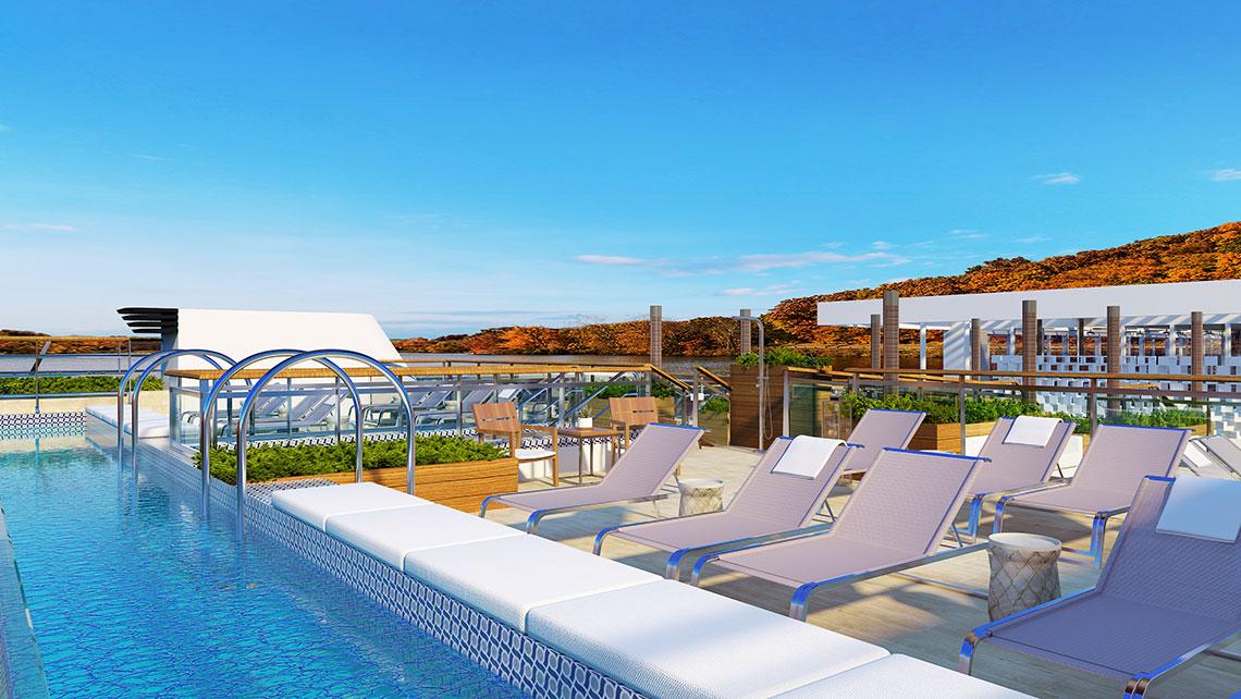 The Viking Mississippi's pool deck.