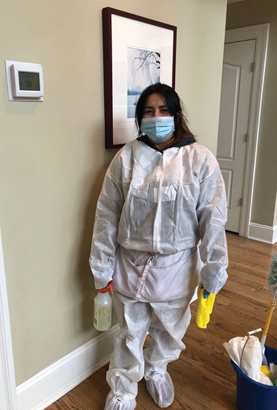 In addition to using commercial-grade disinfectants, some StayMarquis cleaning crews are wearing protective gear.