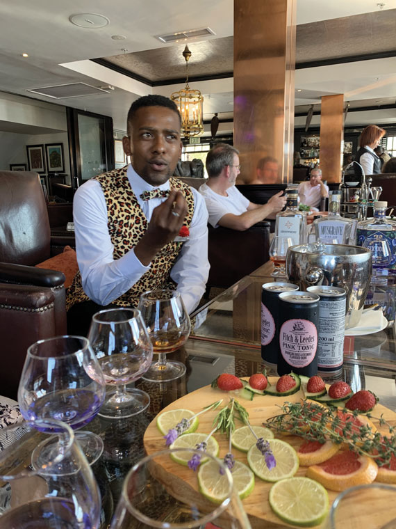 The Twelve Apostles hotel in Cape Town offers local gin tasting at its open-air Leaopard Bar overlooking the water.