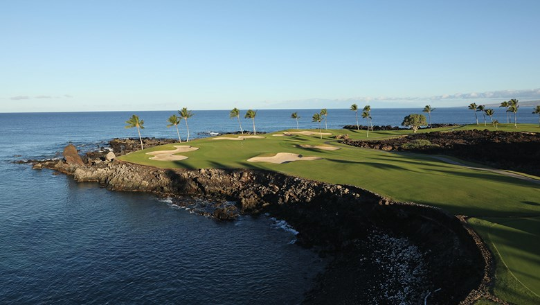 The South course at Mauna Lani on the Island of Hawaii is perched spectacularly along the ocean.