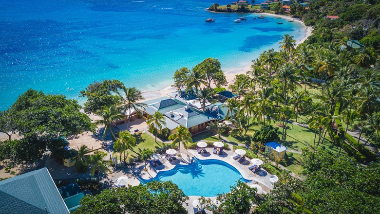 An aerial view of Bequia Beach Hotel in the Grenadines.