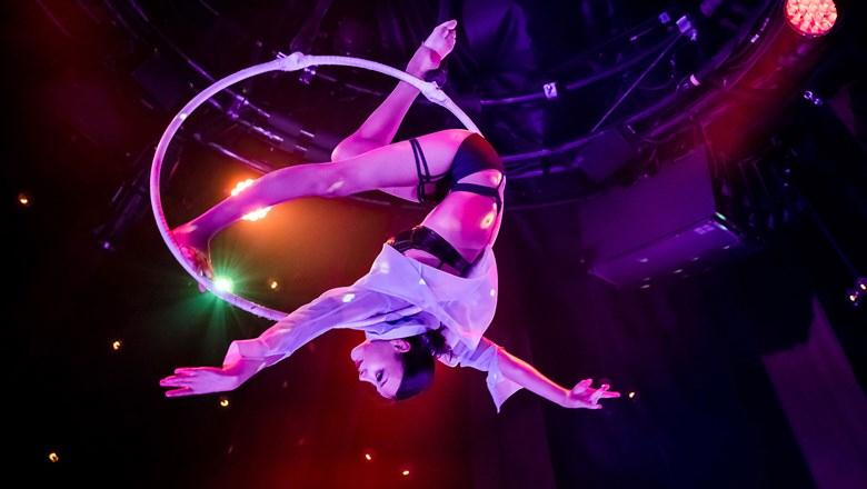 "A hoop artist performs in ""Absinthe"" at Caesars Palace."