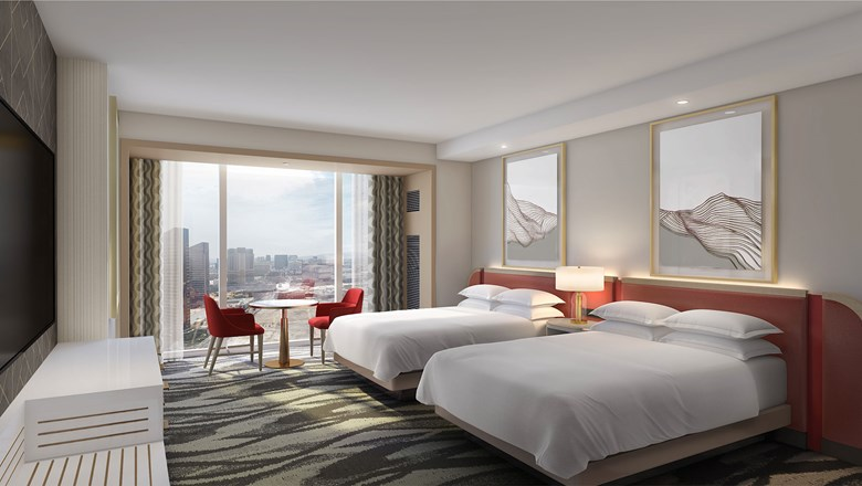 Conrad Las Vegas guestrooms will feature a mix of contrasting metal and organic elements.