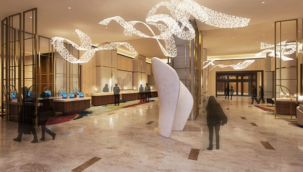 Lobby rendering of the Hilton Las Vegas at Resorts World.