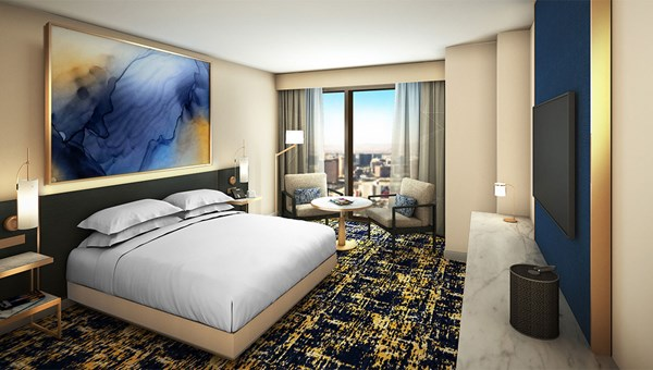 Hilton Las Vegas guestrooms will have a primary color palette of deep blues, golds and neutral cream tones.